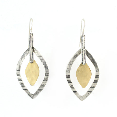 Western Moroccan Style Silver & Goldfield Medium Earrings