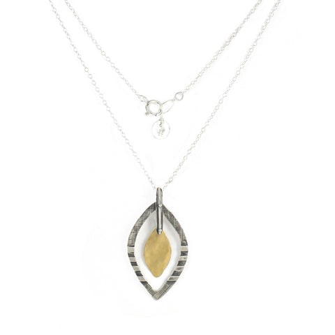 Western Moroccan Style Silver & Goldfield Medium Pendant Necklace