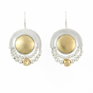 Elegant Bohemian Style Silver & Gold Filled Medium Earrings - Shulamit Kanter