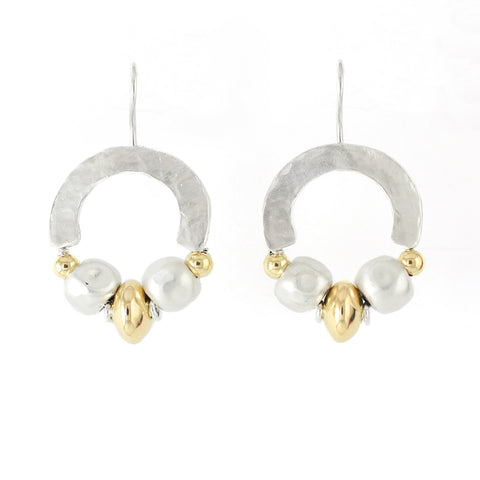 Elegant Bohemian Style Silver & Gold Filled Medium Earrings