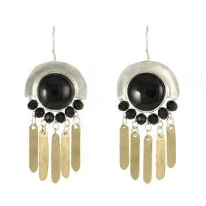 Elegant Bohemian Style Silver, Gold filled & Onyx Gemstones Large Earrings - Shulamit Kanter