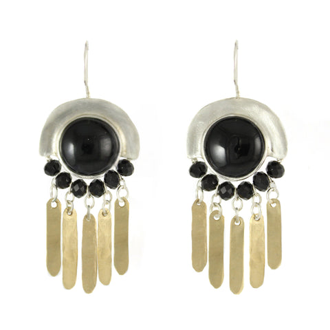 Elegant Bohemian Style Silver, Gold filled & Onyx Gemstones Large Earrings