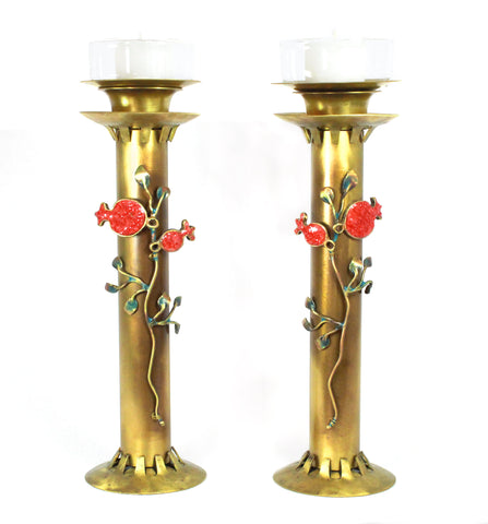 Pomegranate Brass Candlesticks