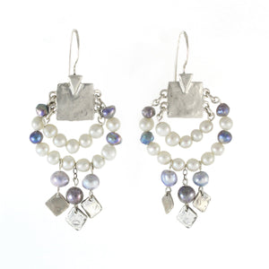 Elegant Bohemian Style Silver & Pearl Large Earrings - Shulamit Kanter