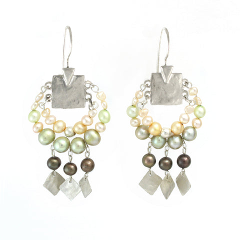 Elegant Bohemian Style Silver & Pearl Large Earrings