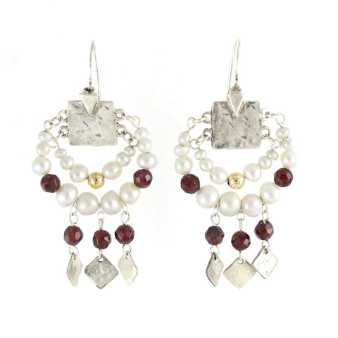 Elegant Bohemian Style Silver, Gold filled & Pearl Large Earrings
