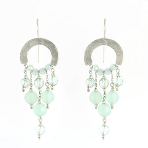 Elegant Bohemian Style Silver & Quartz Gemstones Large Earrings - Shulamit Kanter