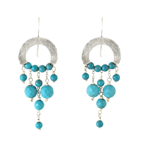 Elegant Bohemian Style Silver & Turquoise Gemstones Large Earrings