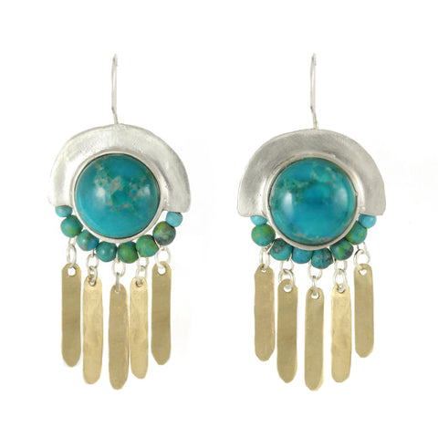 Elegant Bohemian Style Silver, Gold filled & Turquoise Gemstones Large Earrings