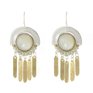 Elegant Bohemian Style Silver, Gold filled & Pearls Large Earrings - Shulamit Kanter