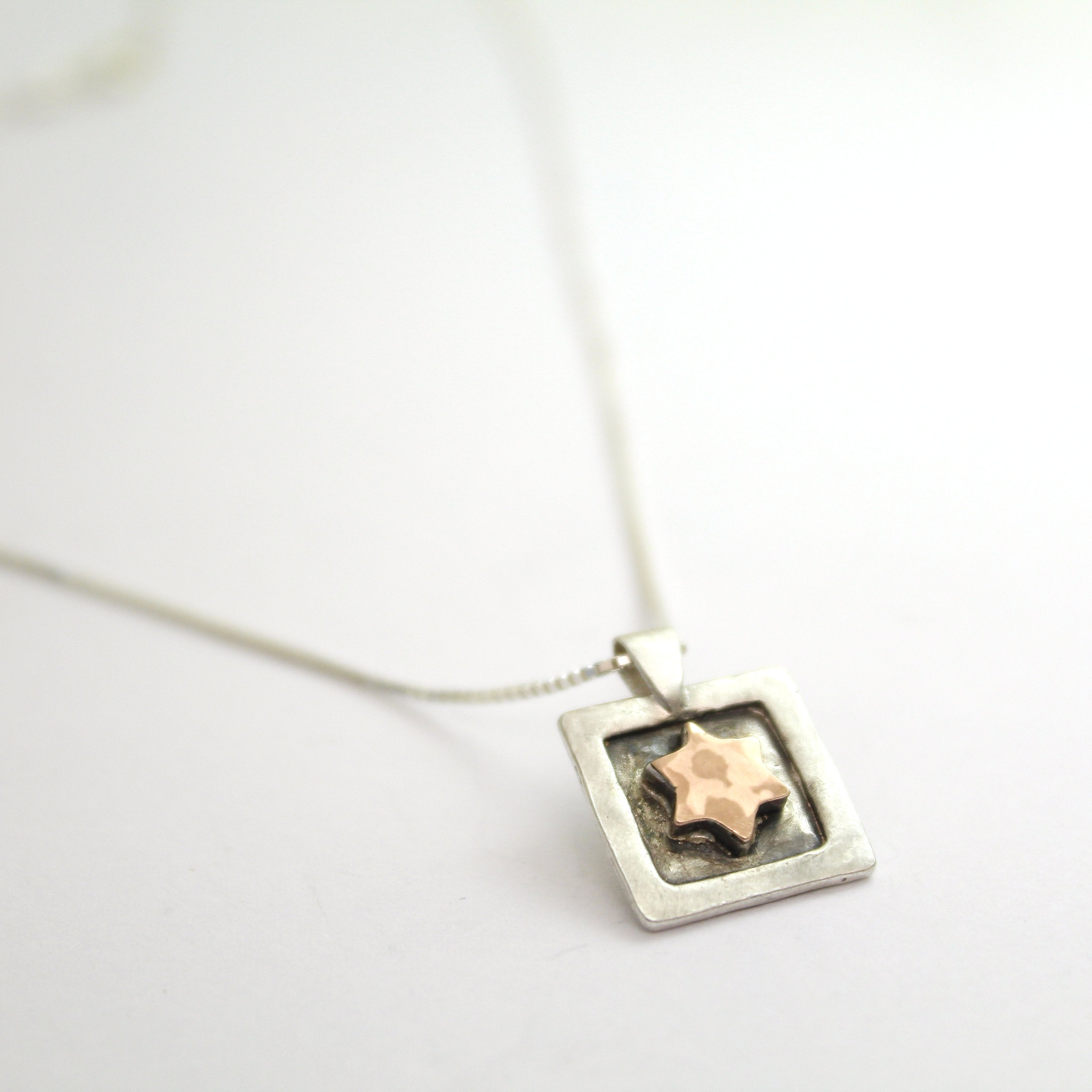 Star of David - Silver & Red Gold Necklace - Shulamit Kanter Official Store