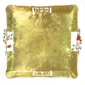 Pomegranate - Metal Matzah Plate - Shulamit Kanter Official Store