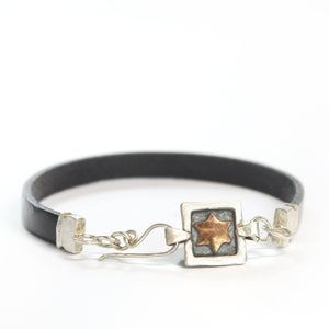 Star of David - Silver & Red Gold Men's Bracelet - Shulamit Kanter Official Store