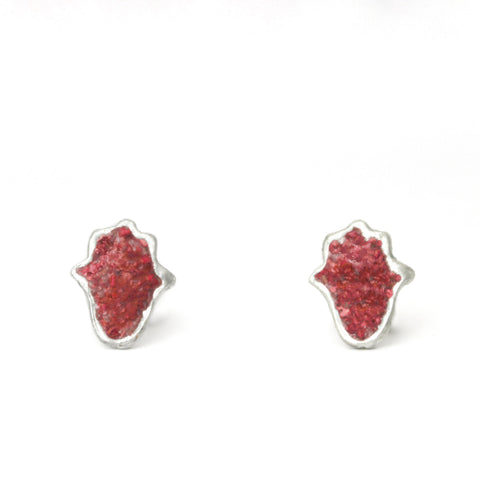 Red Hamsa Silver & Stones Earrings