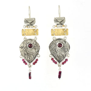 Silver, 14K Gold Filled & Garnet Earrings - Shulamit Kanter Official Store