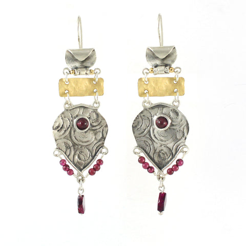 Silver, 14K Gold Filled & Garnet Earrings