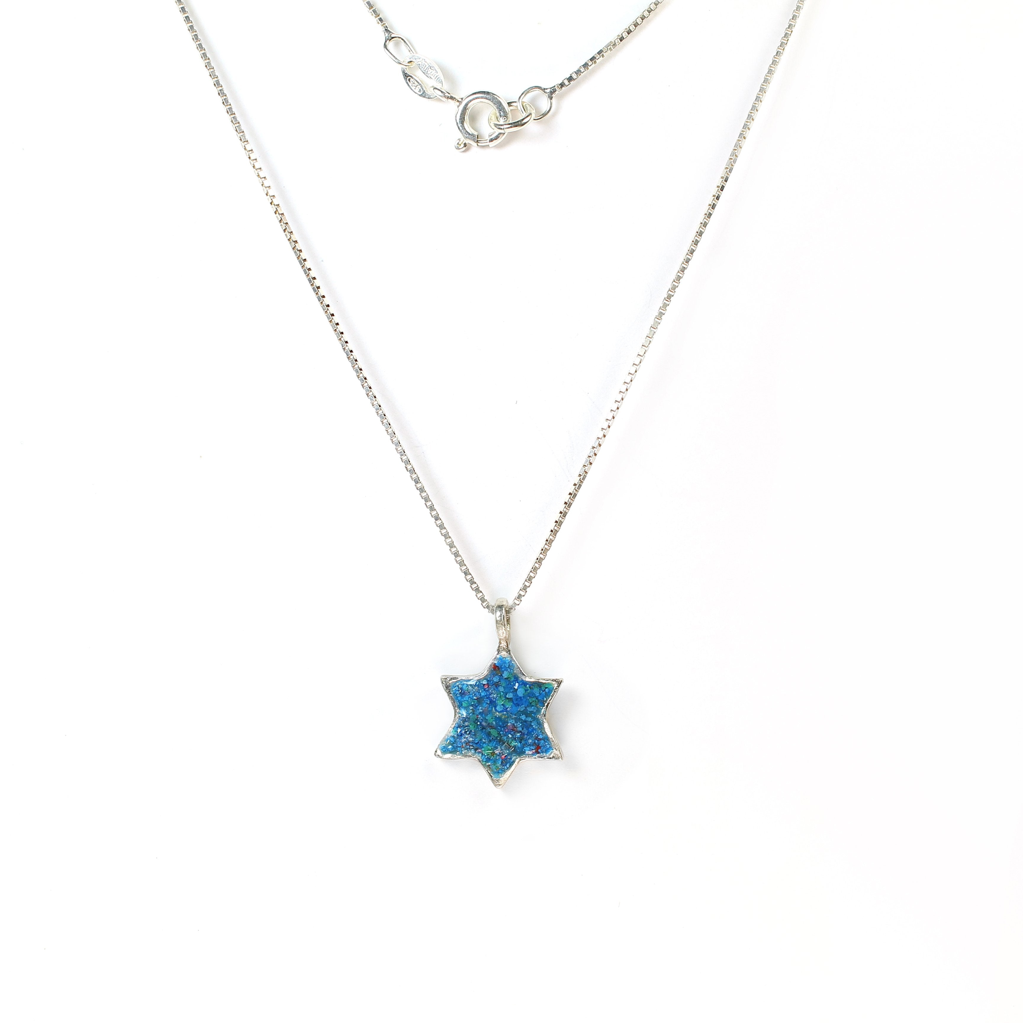 Blue Star of David Silver Necklace with stones - Shulamit Kanter