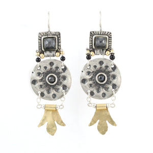 Silver & Gold filled & Zircon Gemstone Earrings - Shulamit Kanter