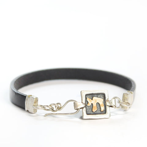 Chai - Silver & Red Gold Men's Bracelet