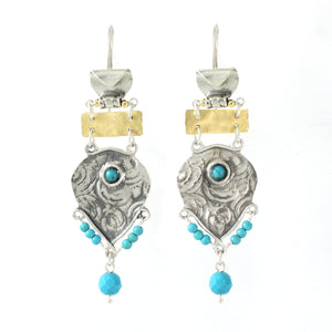 Silver & Gold filled & Turquoise Gemstone Earrings - Shulamit Kanter