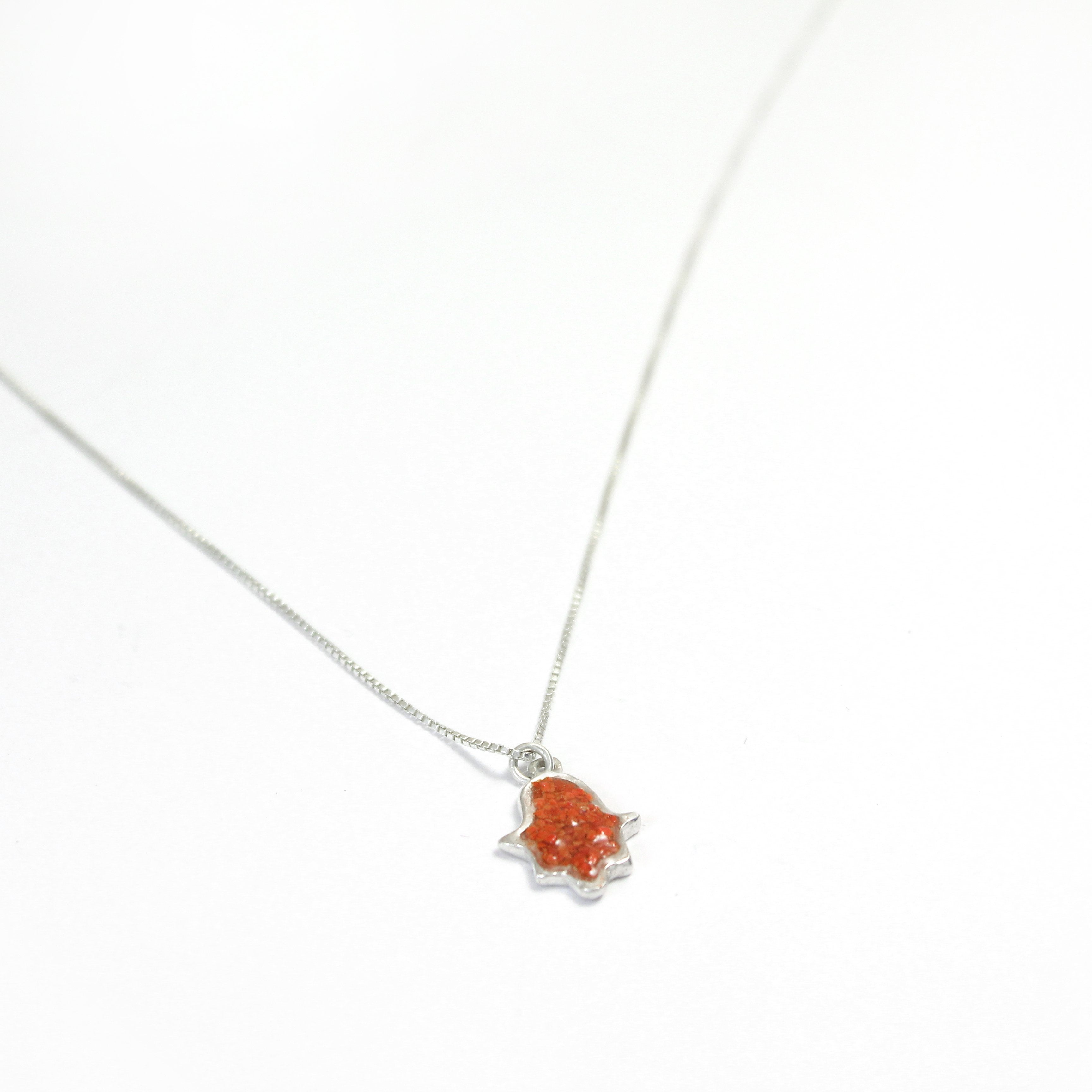 Small Red Hamsa Necklace with stones - Shulamit Kanter