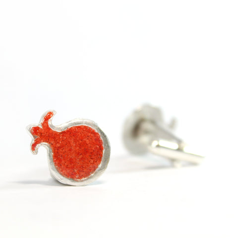 Red Pomegranate Silver Cufflinks