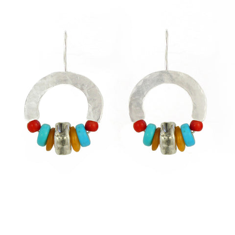 Elegant Bohemian Style Silver & Red Coral, Calcite, Turquoise Gemstones Earrings