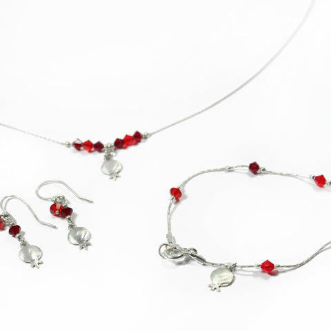 Swarovski and Silver Pomegranate Jewelry Set