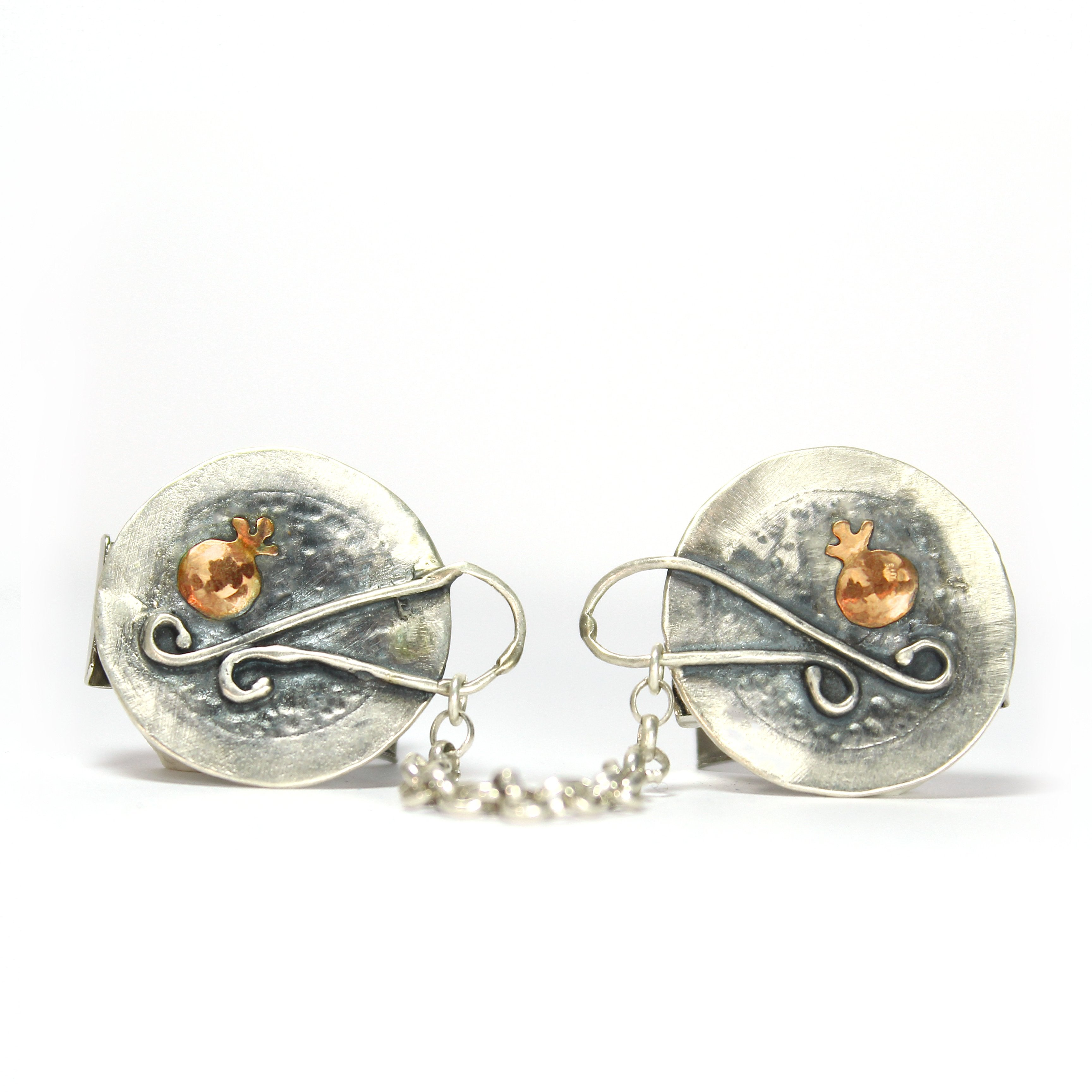 Pomegranate- Silver & Gold Tallit Clips - Shulamit Kanter Official Store
