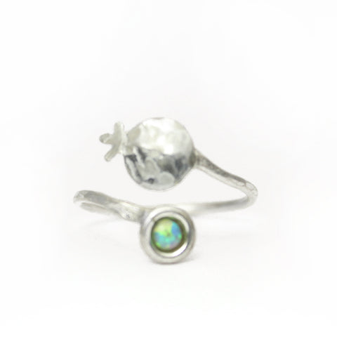 Pomegranate Silver Ring with Colorful Gemstones