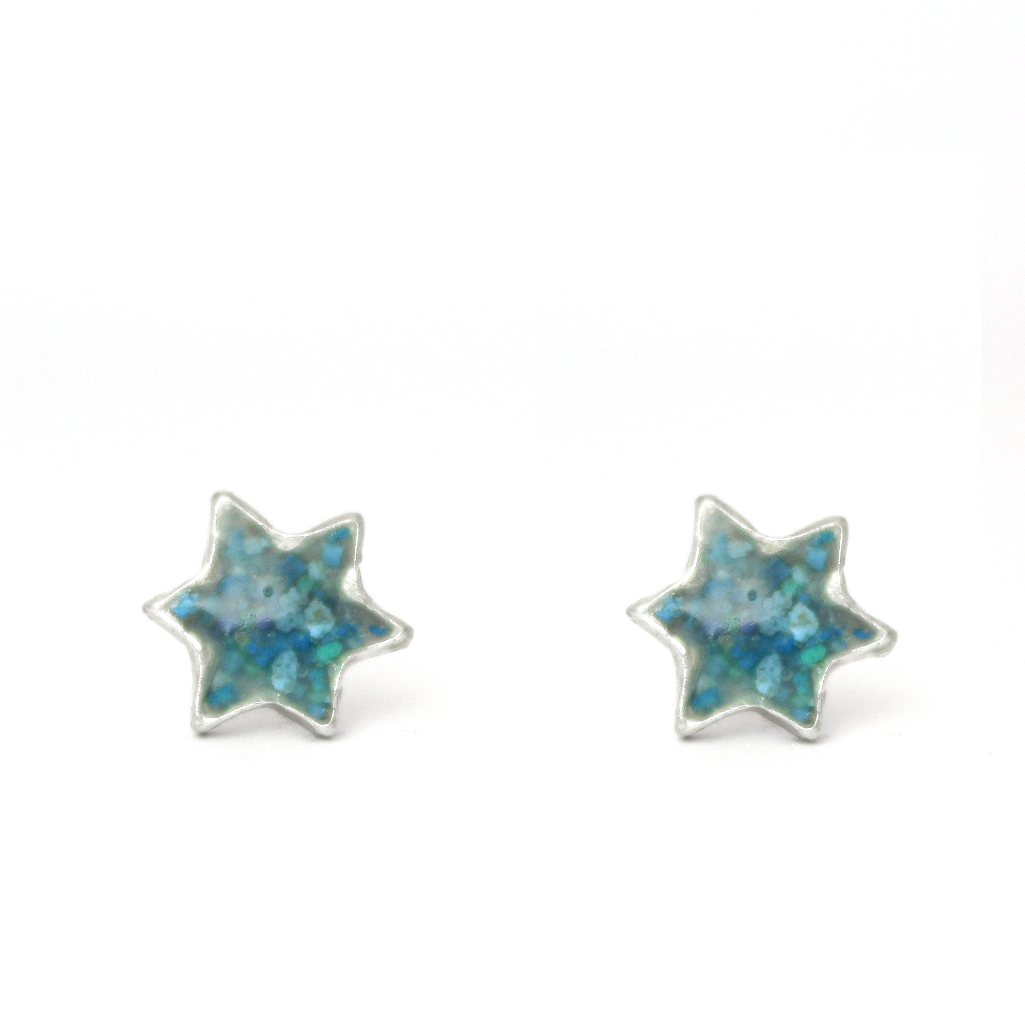 Turquoise Star Of David Silver & Stones Pierce Earrings - Shulamit Kanter