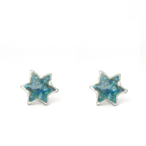 Turquoise Star Of David Silver & Stones Earrings