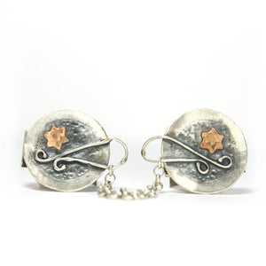 Star of David- Silver & Gold Tallit Clips - Shulamit Kanter Official Store