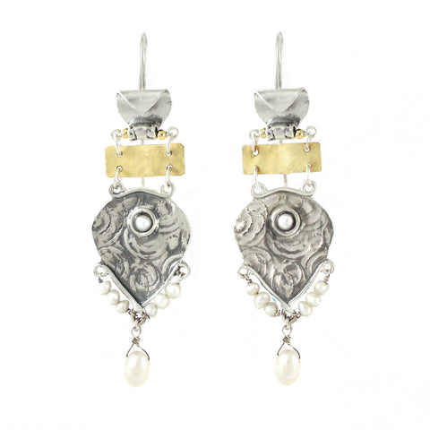 Silver, 14K Gold Filled & Pearl Earrings
