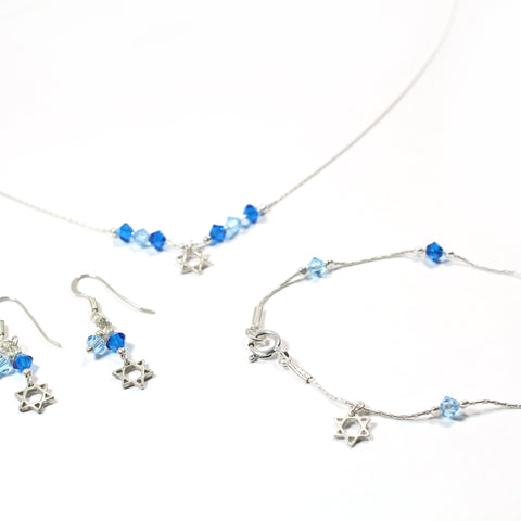 Swarovski and Silver Star of David Jewelry Set