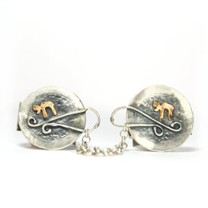 Chai- Silver & Red Gold Tallit Clips - Shulamit Kanter