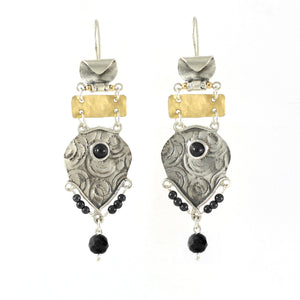 Silver & Gold filled & Onyx Earrings - Shulamit Kanter