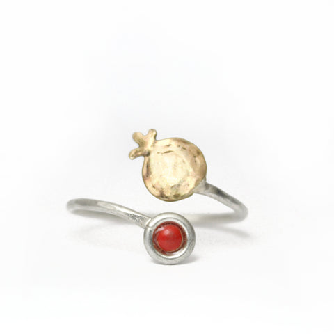 Pomegranate Silver & Red Gold Ring with  Colorful Gemstones