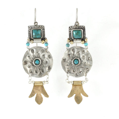 Silver, 14K Gold Filled & Turquoise Gemstone Earrings