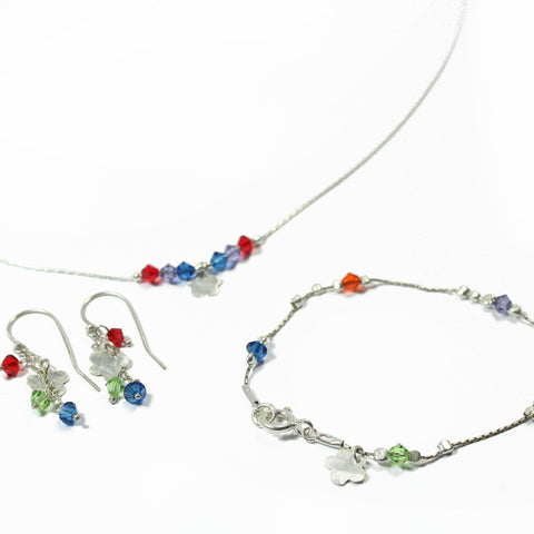 Swarovski and Silver A colorful flower Set