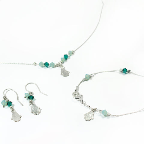 Swarovski and Silver Hamsa Jewelry Set