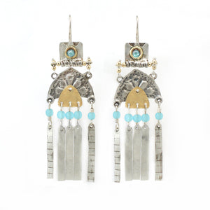 Silver & Gold filled & Quartz Gemstone Earrings - Shulamit Kanter