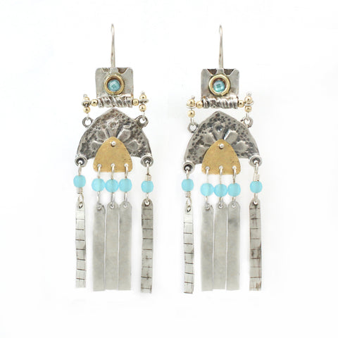 Silver, 14K Gold Filled & Quartz Gemstone Earrings