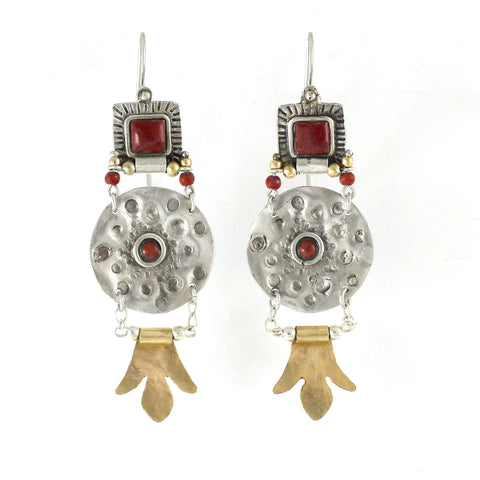Silver ,14K Gold Filled & Garnet Gemstone Earrings
