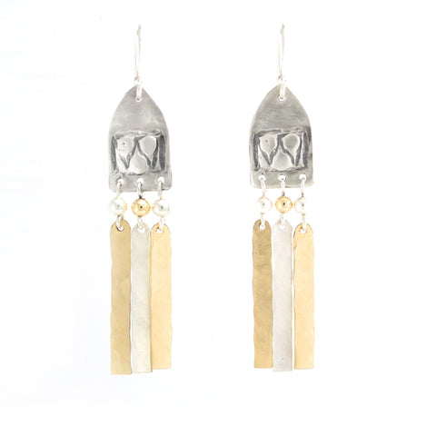 Silver & 14K Gold Filled Geometric Medium Earrings