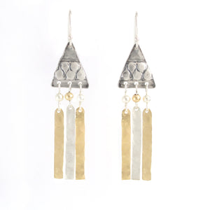 Silver & Gold filled Triangular Medium Size Earrings - Shulamit Kanter