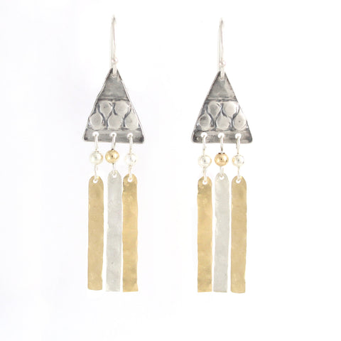 Silver & 14K Gold Filled Triangular Medium Earrings