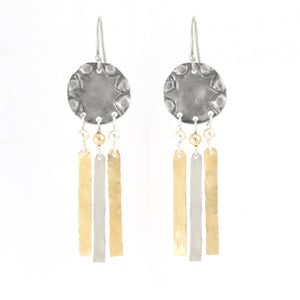 Silver & Gold filled Circular Medium Size Earrings - Shulamit Kanter