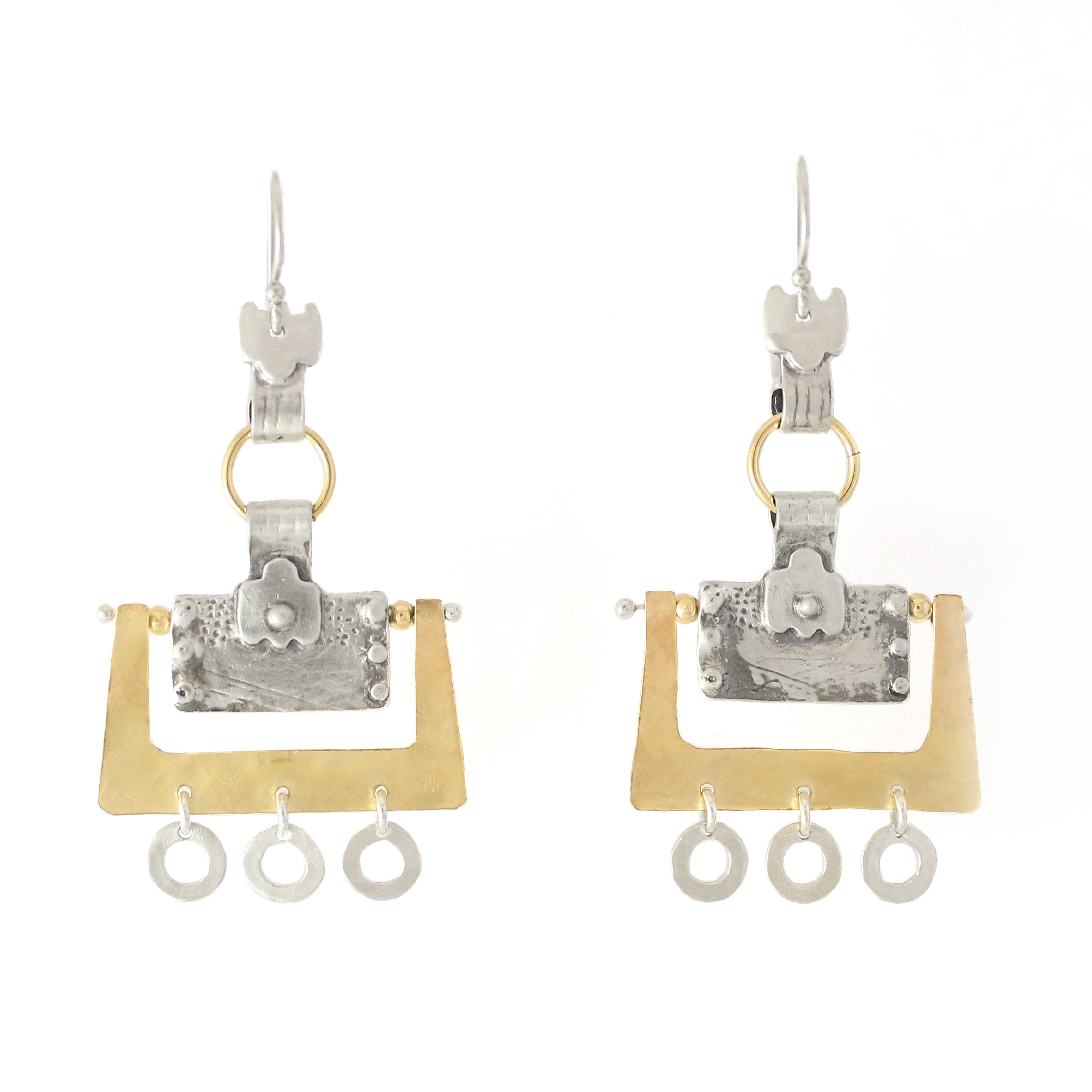 Western Moroccan Style Silver & Goldfield Large Earrings - Shulamit Kanter
