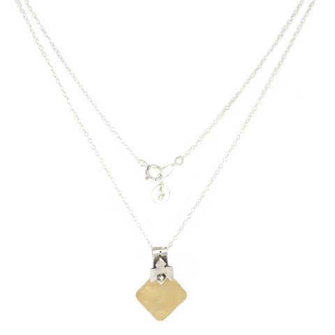 Western Moroccan Style Silver & Goldfield Medium-Small Pendant Necklace